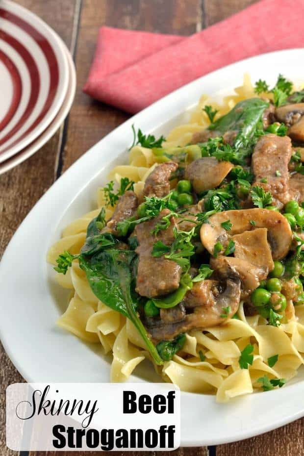 SKINNY BEEF STROGANOFF | Featured on www.thebestblogrecipes.com | This delicious dinner recipe is on the lighter side without sacrificing flavor because it uses a secret ingredient that you'll definitely want to check out!