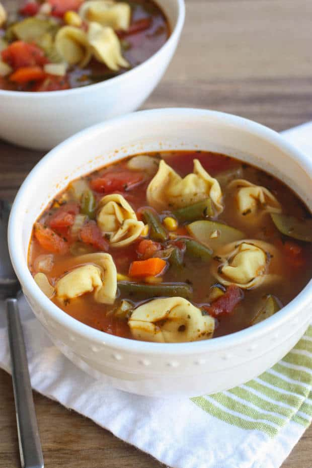 This healthierVegetable Tortellini Souprecipe fromTastes Better from Scratchreally hits the spot on a cold winter day! It's a versatile recipe that you can play around with depending on what veggies you have stocked in your fridge and freeze