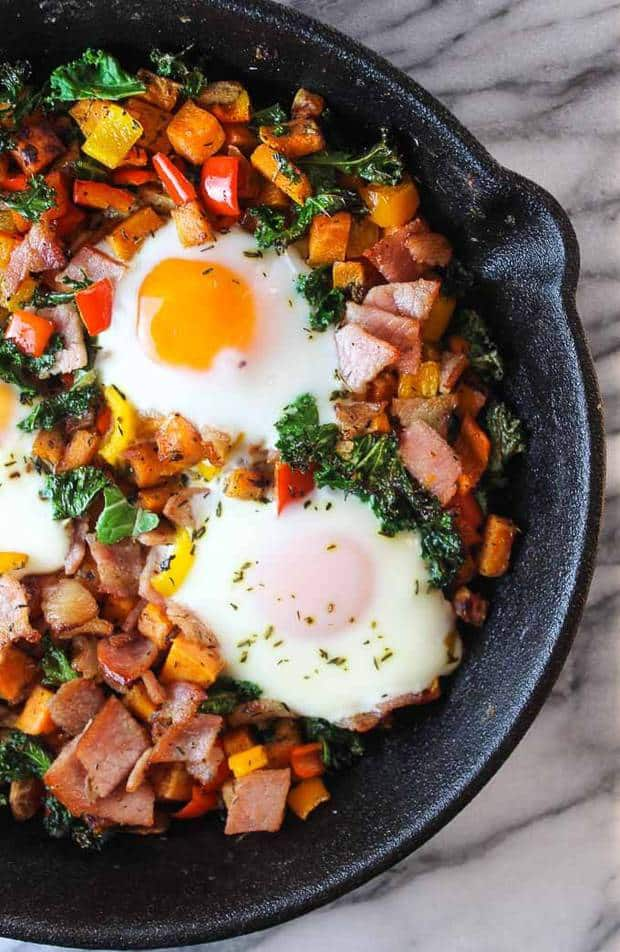 Bacon, Kale, and Sweet Potato Hash   Featured on www.thebestblogrecipes.com