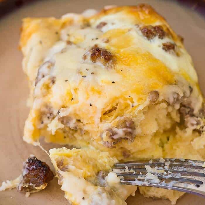 Sausage and Gravy Breakfast Casserole -- This breakfast dish is perfect to double for large groups and can be assembled the night before for practically no morning prep!