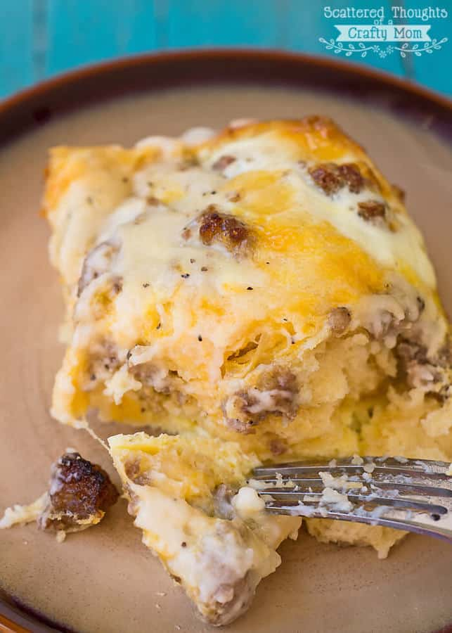 I'm sure you've heard of biscuits and gravy casserole, right? This version of that popular breakfast casserole is filled with eggs and cheese and is perfect for lazy Sunday mornings with the family and it's even better when doubled for large groups.  Bonus: this Egg Casserole can be assembled the night before for practically no morning prep!