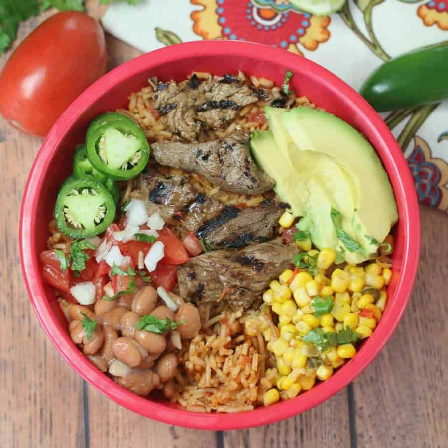 Sizzling Steak Burrito Bowl -- It has an amazing combination of Mexican flavors for a filling lunch or dinner.