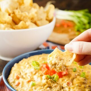 CHEESEBURGER DIP -- tastes just like a Cheeseburger, making it the ultimate appetizer recipe! | Featured on www.thebestblogrecipes.com
