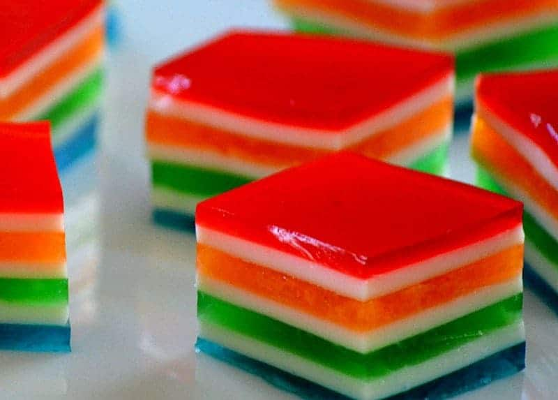 Rainbow Jello Cubes are wonderfully easy and delicious and perfect for St. Patrick's Day or any day you want to bring a smile to someone's face!e