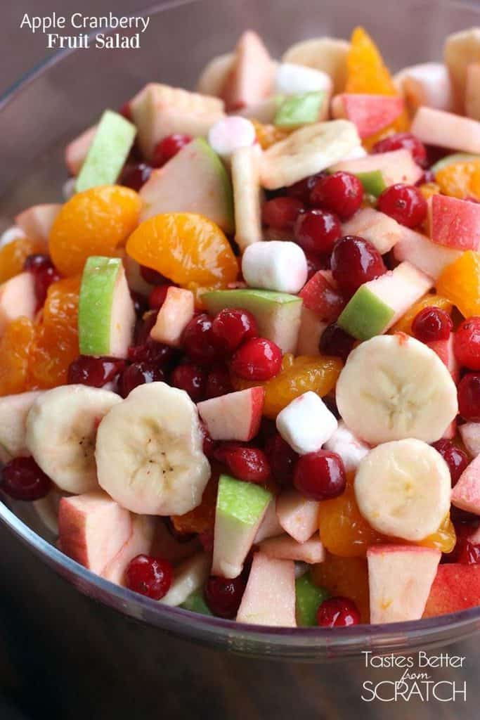Apple cranberry fruit salad with fresh fruit, fresh cranberries, mini marshmallows and whipped cream!  This recipe is a must-make during the holidays!