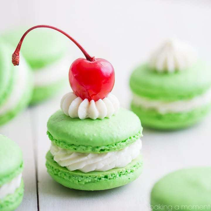 A fun and festive macaron, all decked out in St. Patrick's Day green!  These minty treats will remind you of your favorite seasonal fast food treat: the Shamrock Shake!