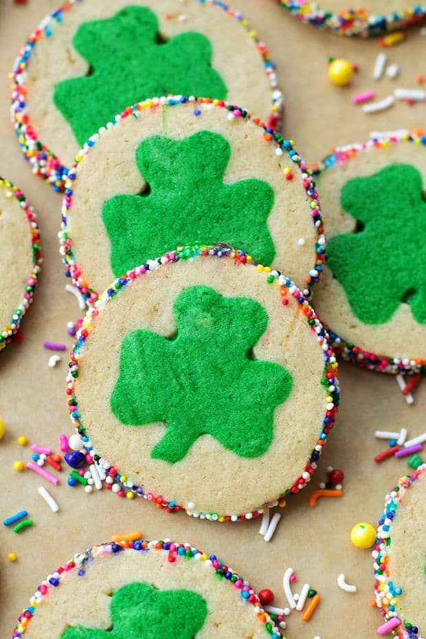These bright and cheery slice and bake clover cookies are sure to be the hit of your St. Patrick's Day celebration!