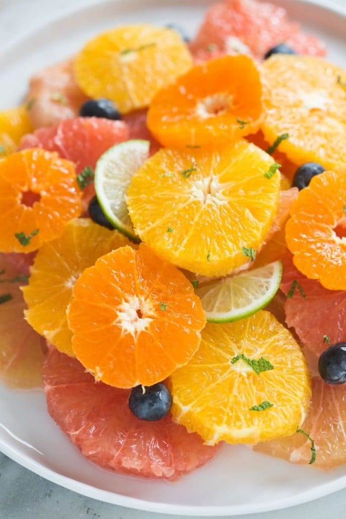 itrus Fruit Salad is a delicious medley of juicy, tart winter fruits. Garnished with fresh mint and sweet blueberries.