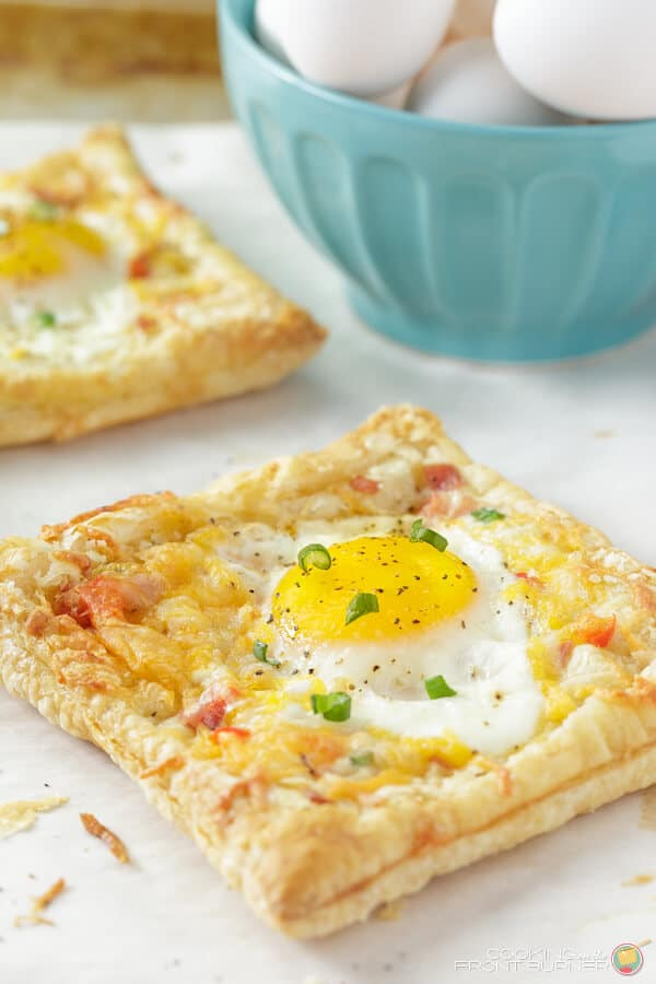This recipe will get your family excited to have Saturday morning breakfast together. There's no need for toast with this one. Just tear off a corner of the delicious flaky puff pastry and dip it right into the center of your dunky-egg.