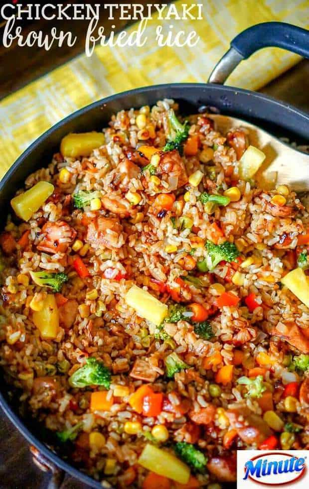 ThisdeliciousChicken Teriyaki Fried Ricedinner recipe fromThe Love Nerdsis simple to make, delicious, and only uses one pan which makes clean up a breeze! Make it for lunch or dinnerand watch how fast your family gobbles it all up!