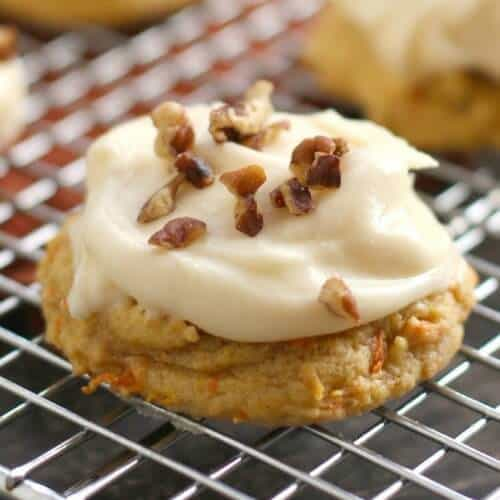 Carrot Cake Cookies with Caramel Cream Cheese Frosting -- All the goodness of a moist, spice-infused carrot cake in a handheld, easy-to-make, on-the-go form, then these cookies are for you!