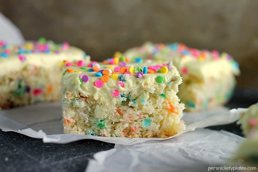 Cream Cheese Funfetti Bars are simple, semi-homemade treats that are perfect to kick off spring baking.