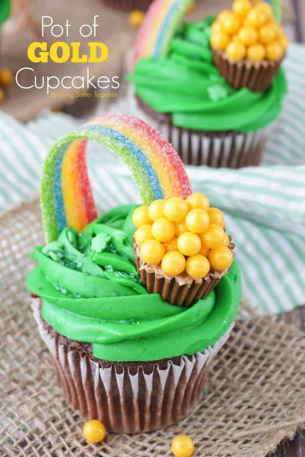 Pot of Gold Cupcakes -- are perfect for St. Patrick's Day! They're simple enough to make and absolutely adorable!