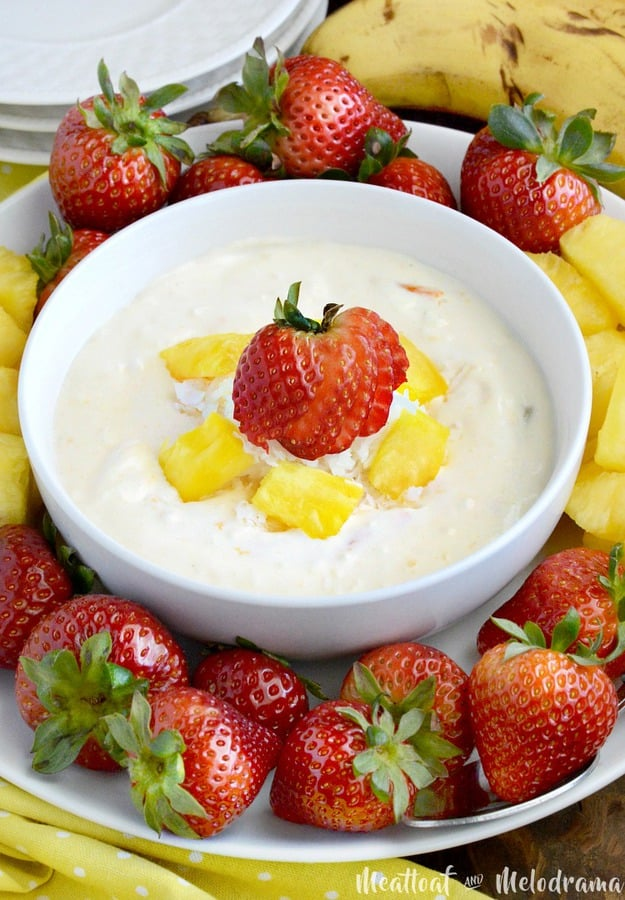 This Easy Tropical Fruit Dip is cool, creamy and made with only three ingredients.  Serve it with fresh fruit, and it's perfect for summer snacking!