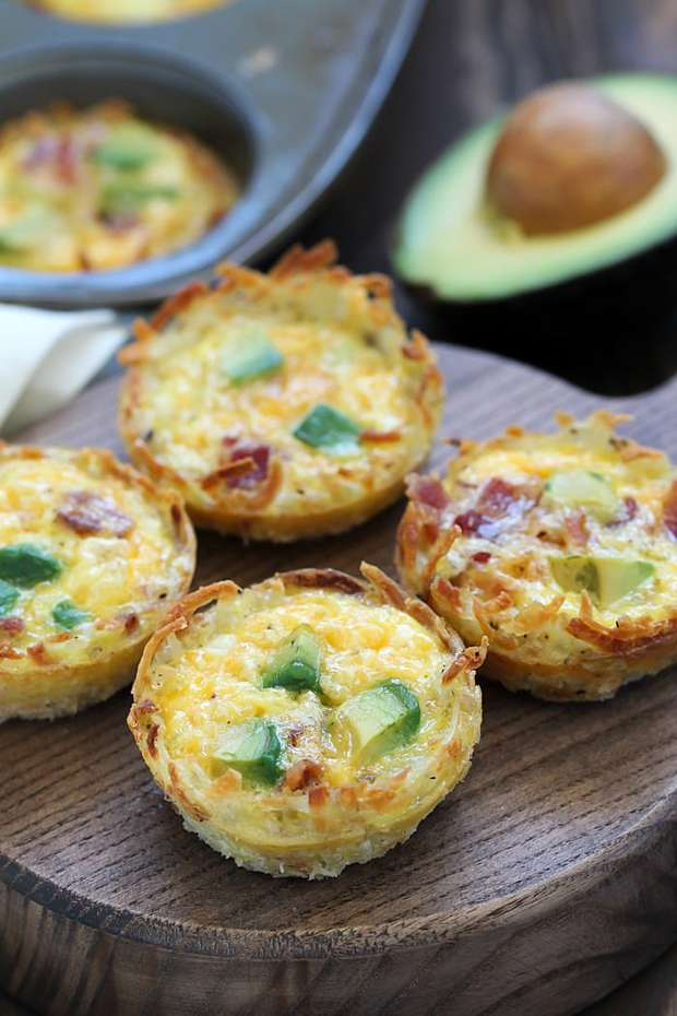 Bacon & Avocado Hash Brown Egg Cups are the perfect flavorful, make-ahead breakfast!