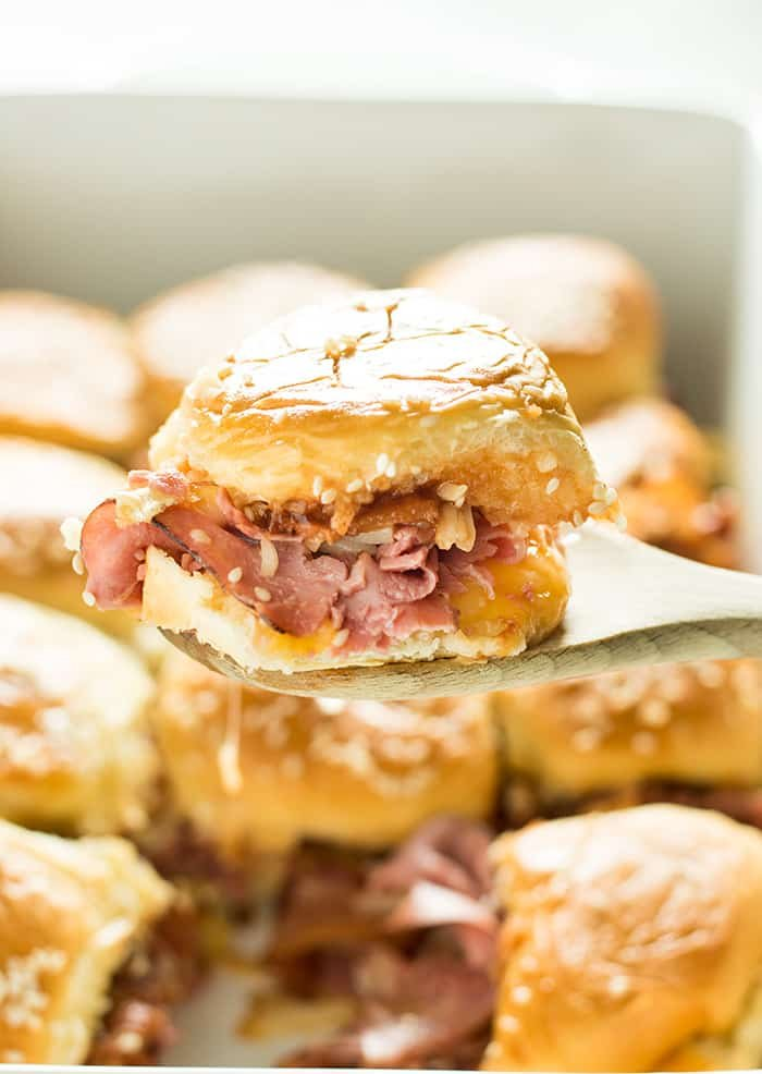 Cheesy Bacon Roast Beef Sliders – An easy slider recipe full of roast beef, bacon, bbq sauce and two kinds of cheese!  These roast beef sliders are the perfect appetizer for game day to feed a crowd, or a simple weeknight dinner the whole family will enjoy!