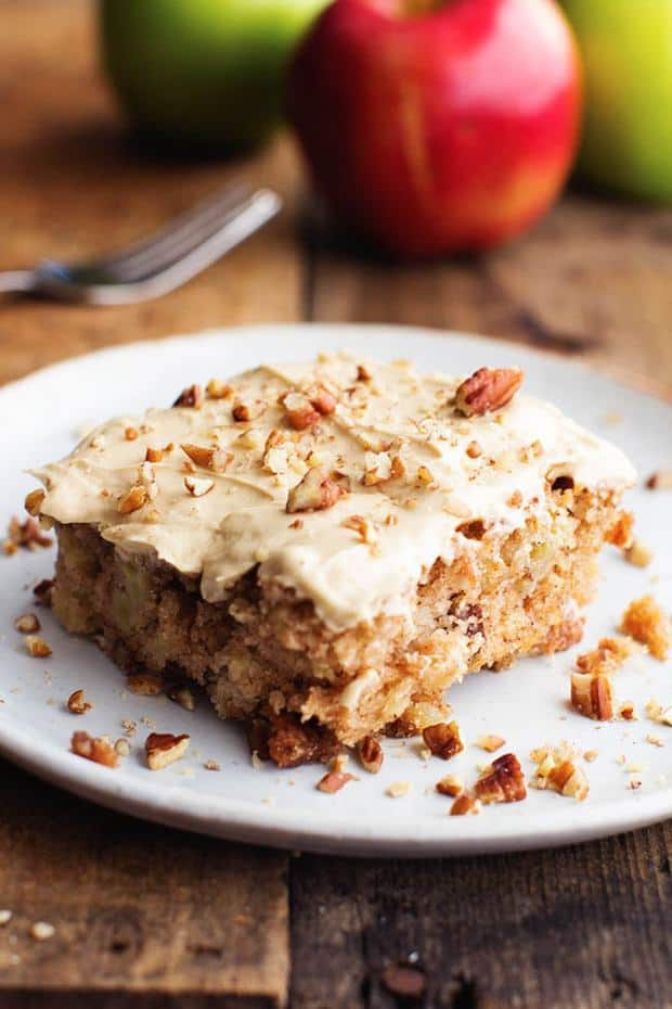 The most tender and moist apple pecan spice cake that you will make.  And the brown sugar cream cheese frosting is absolutely delicious!