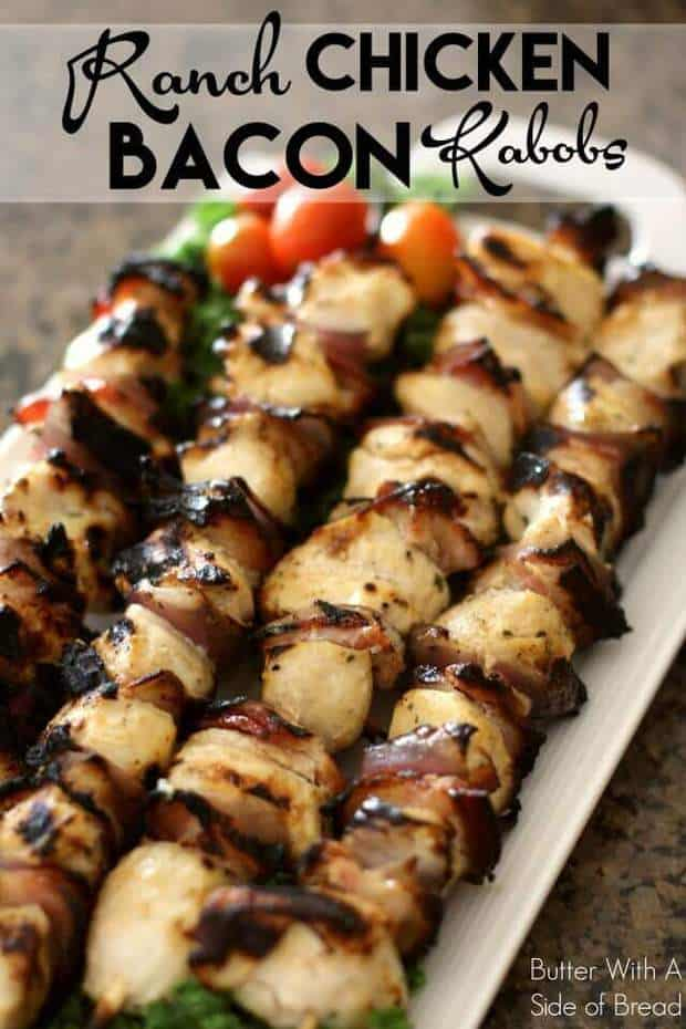 TheseRanch Chicken Bacon KabobsfromButter with a Side of Breadwill make your tastebuds sing! They're super easy to create with ingredients from your pantry plus they grill up fast. Try them at your next barbecue night!