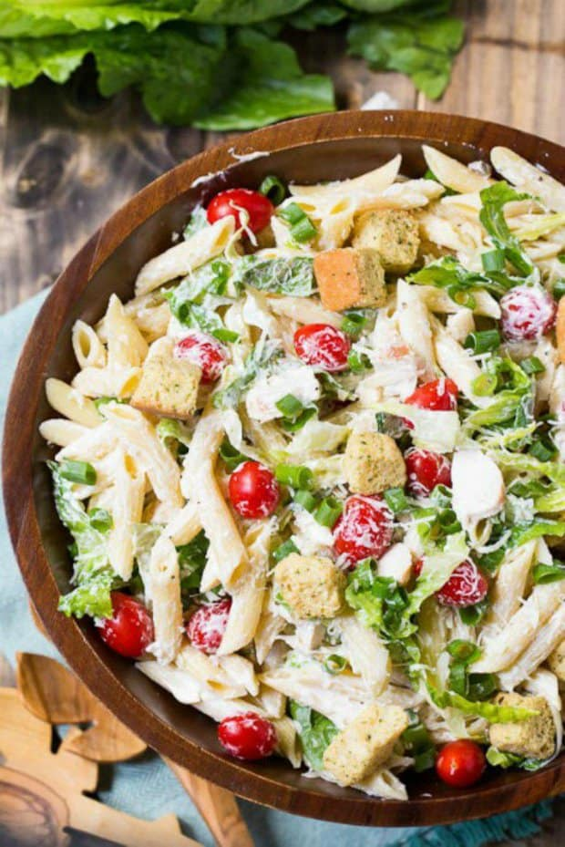 This Caesar Pasta Salad is modeled after my Caesar Coleslaw and it is a delicious and satisfying pasta salad. During the summer months, I love the nice crispy crunch of the romaine lettuce in a Caesar salad. There's something so refreshing about it!