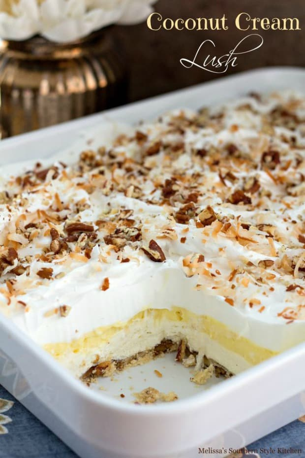 This coconut cream lush is a spin off of a fabulous dessert that's been rotating through Southern kitchens in a variety of flavors for decades.