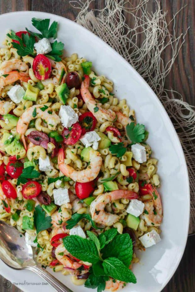 Definitely not your average shrimp pasta salad. Mediterranean pasta salad is a lighter, brighter, flavor-packed dish. Perfect as a side, but a great lunch on its own!