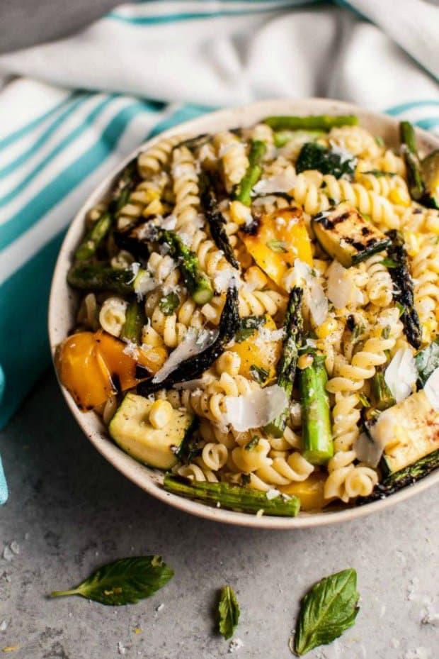 This grilled summer vegetable pasta salad is healthy and full of flavor, and its easy to make and feeds a crowd!