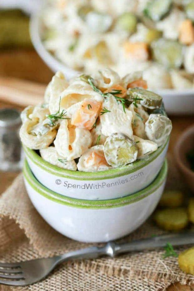 Dill Pickle Pasta Salad is literally my favorite pasta salad ever! In this creamy pasta salad recipe, dill pickles play a starring role and add tons of flavor and crunch! It is even better when it's made ahead of time making it the perfect potluck dish