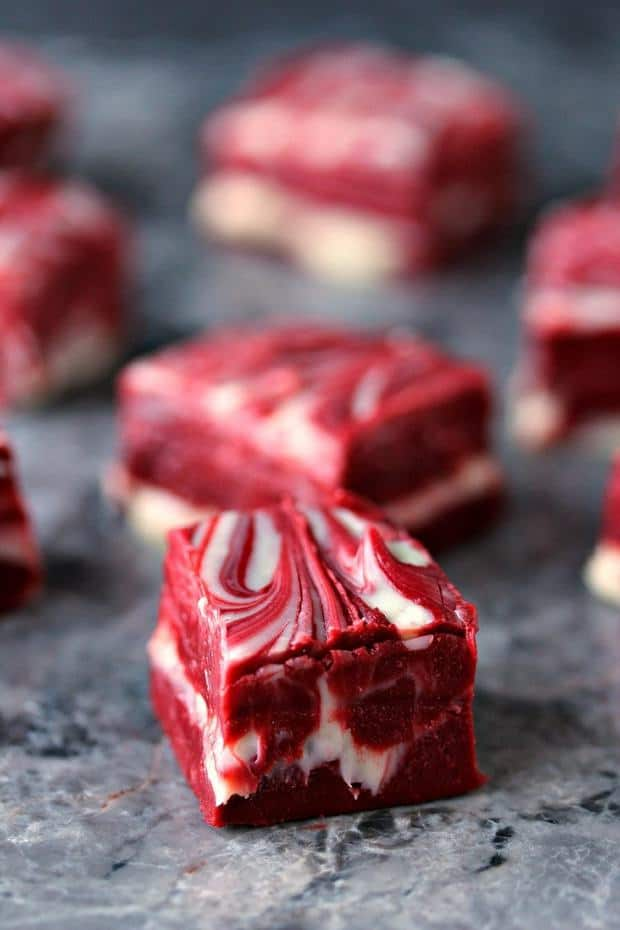 Red Velvet Swirl Fudge -- Part of the Valentines Day Dessert