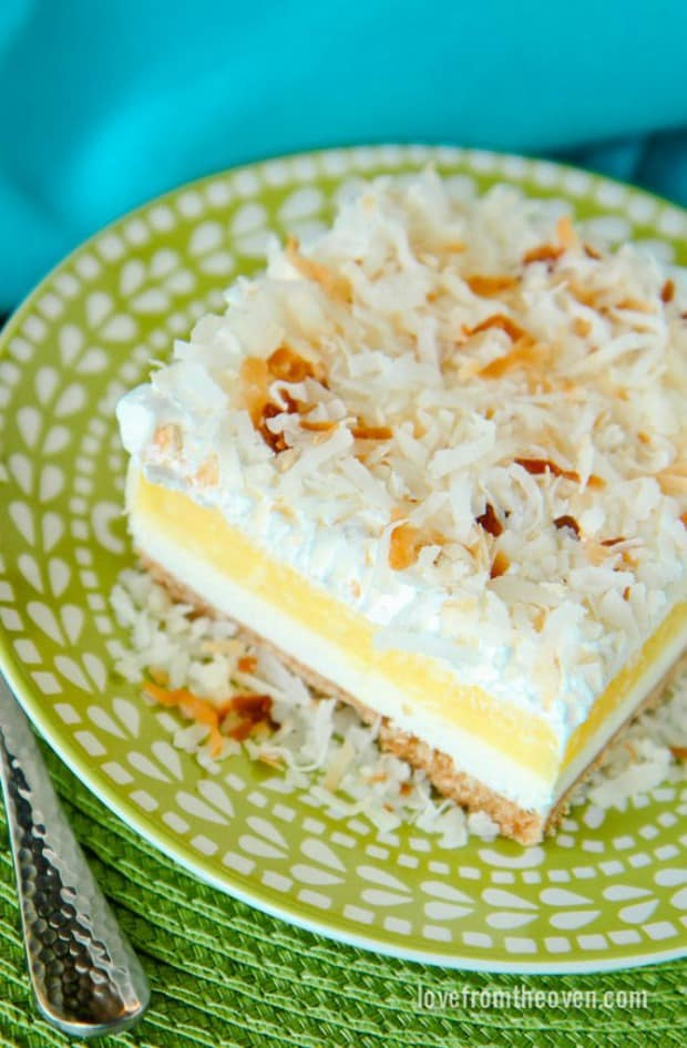 These Layered Coconut Cream Cheesecake Bars can be made ahead of time, won't take up any space in the oven and will be a fabulous addition to your Easter table