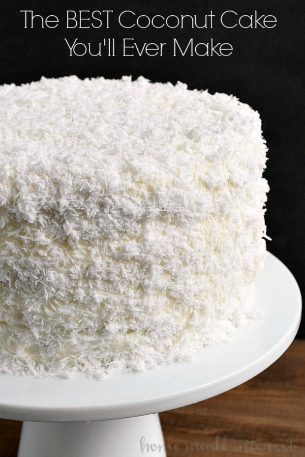 This is hands down the BEST Coconut Cake recipe you'll ever make. This classic coconut cake recipe uses fresh coconut and a secret ingredient to make the cake extra moist!