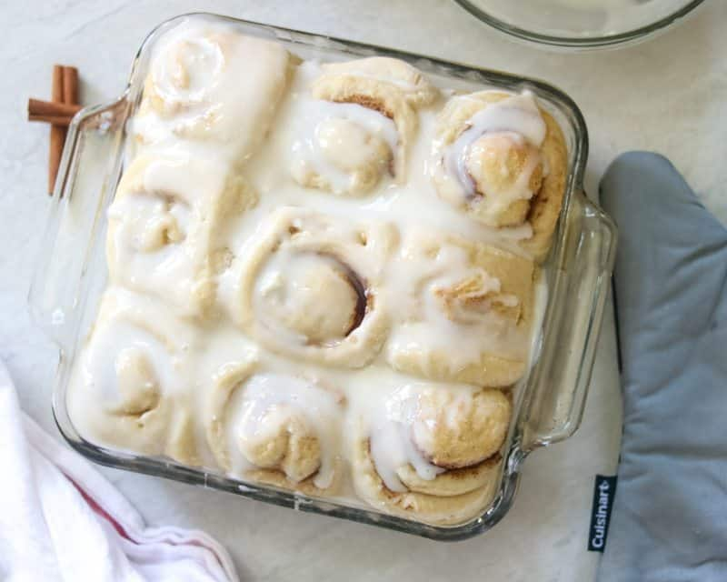 asy Skinny Overnight Cinnamon Rolls: An easy cinnamon roll that is prepped the night before and ready to be baked to perfection in the morning. Made with whole white wheat flour, less butter, less sugar for a more wholesome morning treat.