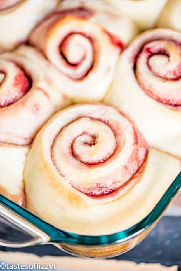 Raspberry jam and cream cheese fill these soft, fluffy Raspberry Sweet Rolls. Top with cream cheese frosting for a delicious breakfast!