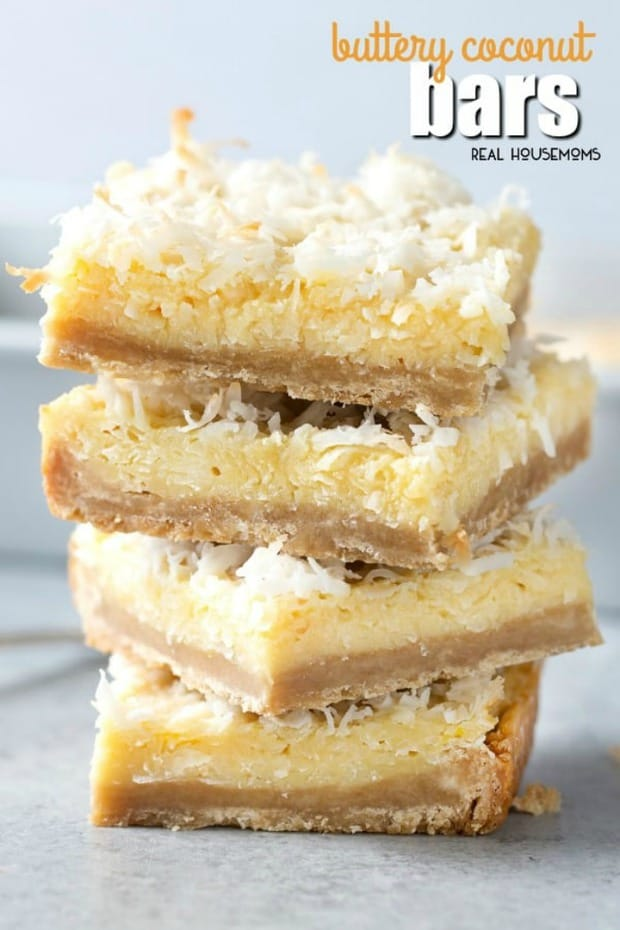 Buttery Coconut Bars are a sinfully good dessert that's easy to make and always a crowd pleaser!