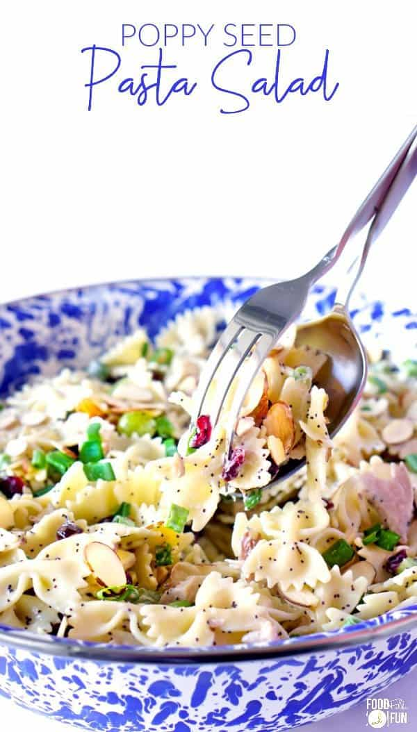 Poppy Seed Pasta Salad is an easy, make-ahead dinner that's perfect for hot summer nights when you don't feel like heating up the kitchen. Therefore it's also great for packing up for picnics, barbecues, potlucks, and beach days!