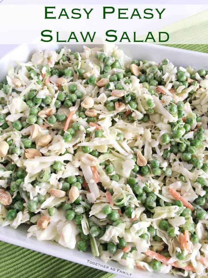 This easy, delicious, & only 5 ingredient salad comes together quickly and is perfect for a potluck or as a side dish for dinner. Uses salad dressing, bagged coleslaw, and frozen peas so it comes together in a hurry!