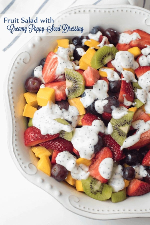 fruit salad with creamy Poppy-Seed-Dressing