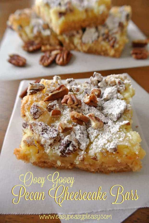 These Ooey Gooey Pecan Cheesecake Bars recipe from Easy Peasy Pleasy have just a little cake mix, some cream cheese, butter and it makes one heck of a dessert! It's a simple recipe that is easy to make and they turn out fabulous every single time!