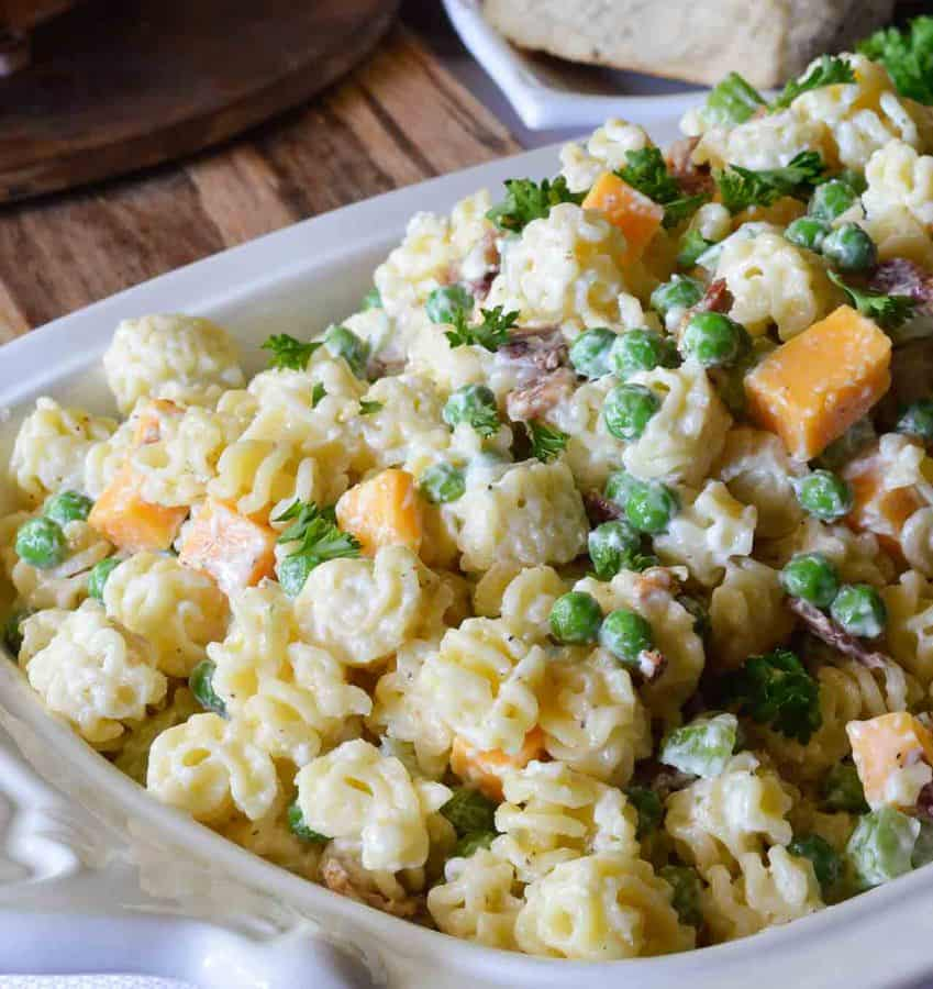 Easy Pasta Salad with Bacon and Peas