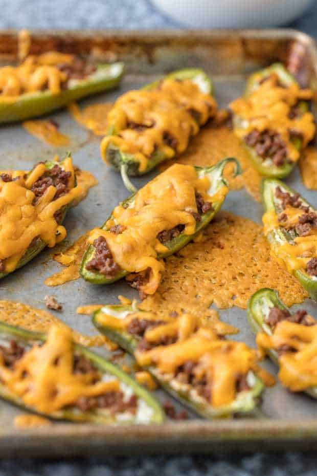 These Cheeseburger Stuffed Jalapeno Poppers are a fun and easy appetizer perfect for any occasion. They bring just the right amount of spice and are thrown together in minutes.