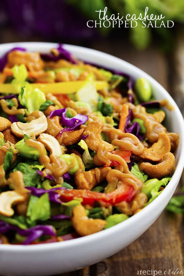 So many delicious vegetables combine in this flavorful and colorful salad! The cashews add a delicious crunch and the Ginger Peanut Sauce on top is amazing!