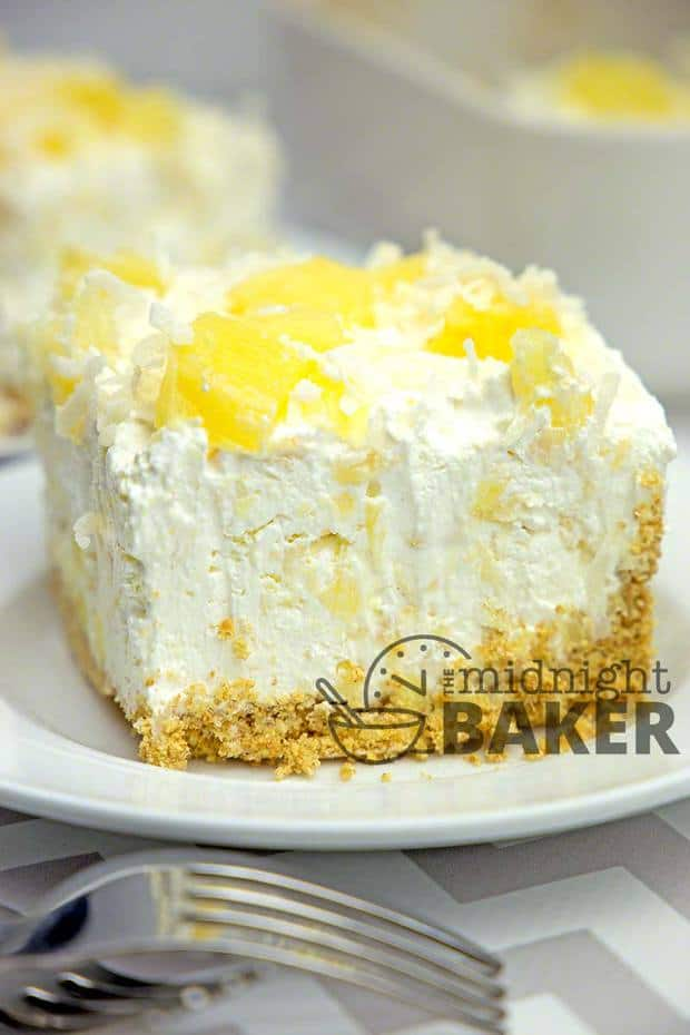 IF YOU LOVE CHEESECAKE…Then you'll love this dessert! The filling is a creamy pineapple-flavored cheesecake and it's mounded on top of a buttery graham cracker crust. It's just totally yummy.