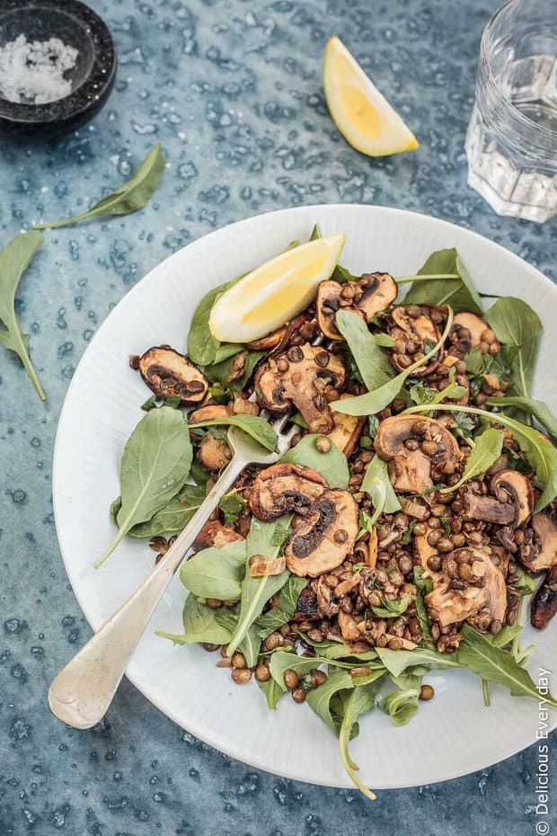 This hearty Mushroom, Lemon and Lentil Salad is a nutritional powerhouse! Even better it only needs a handful of ingredients you probably already have in your pantry!