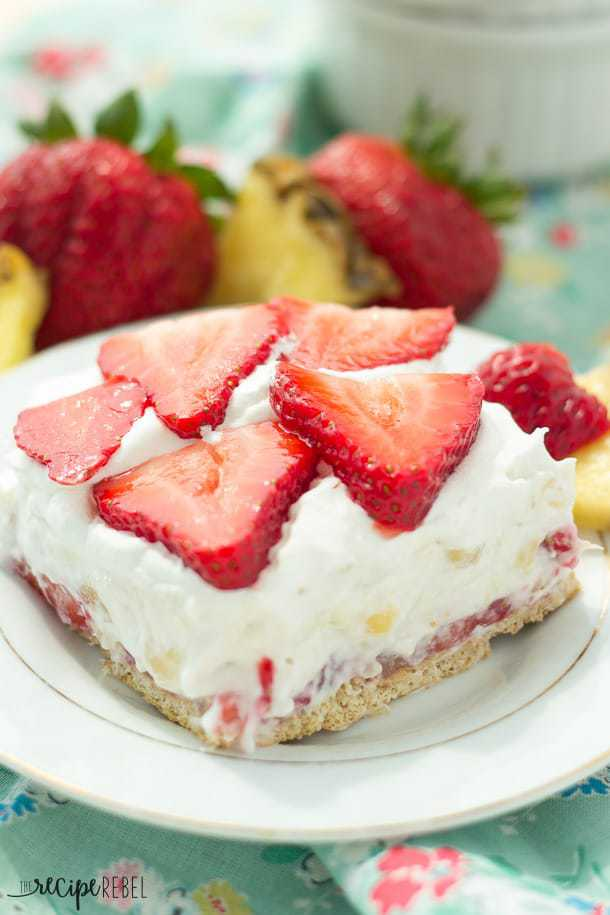 A light, fruity, no-bake cheesecake made with strawberries, crushed pineapple, and strawberry yogurt! A summer treat that you don't have to feel guilty about!