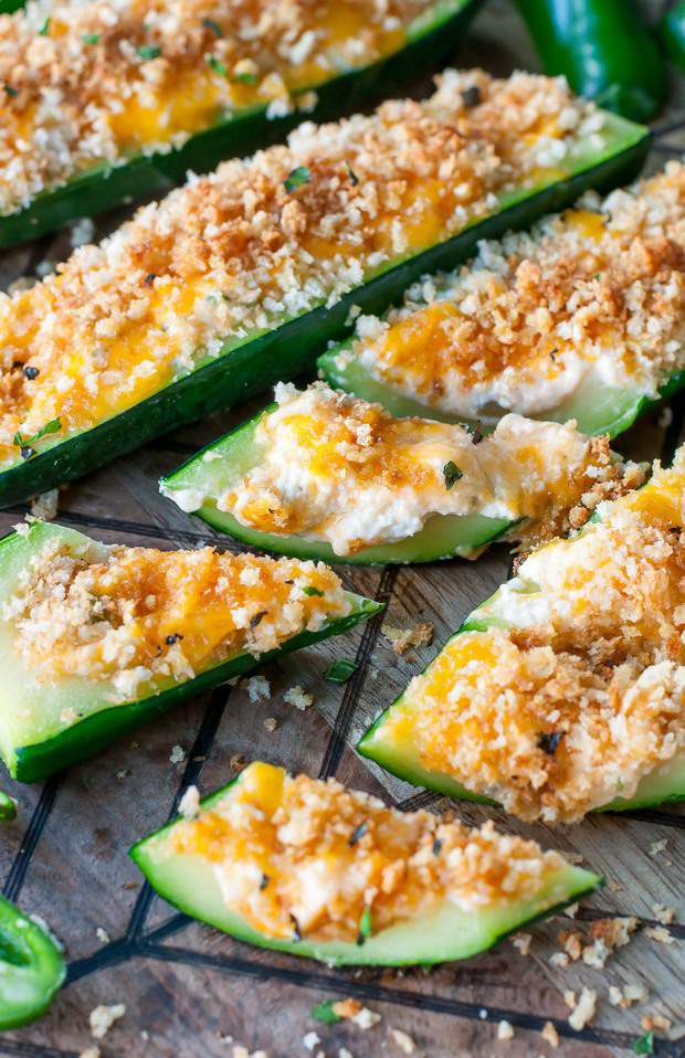 These easy cheesy Jalapeño Popper Stuffed Zucchini are a must-try appetizer!
