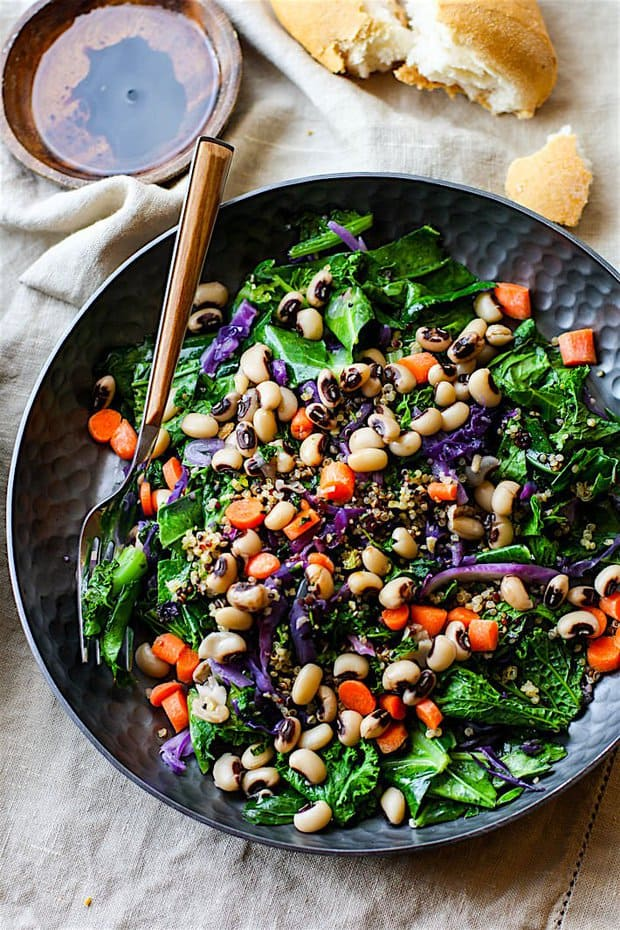 Vegan Rainbow Power Greens Salad with Black Eyed Peas. A healthy gluten free power greens salad packed with lucky black eyed peas and super nutrients. A great way to start off the new year and get back on track with clean eating. Easy to make and full of flavor