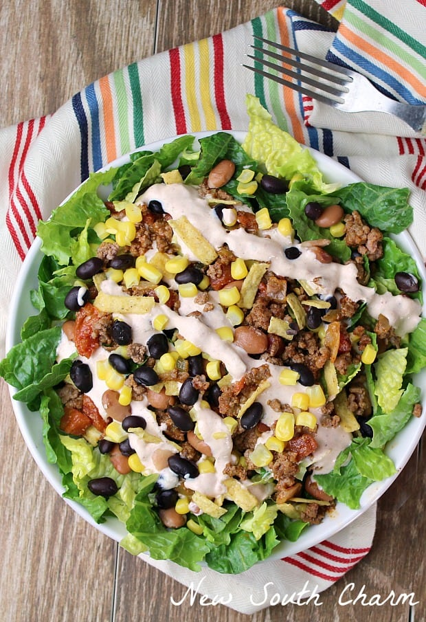 Loaded Taco Salad withChipotle Lime Sauceis the perfect weeknight dinner because it's ready in just 20 minutes, flavor packed and always a crowd pleaser.