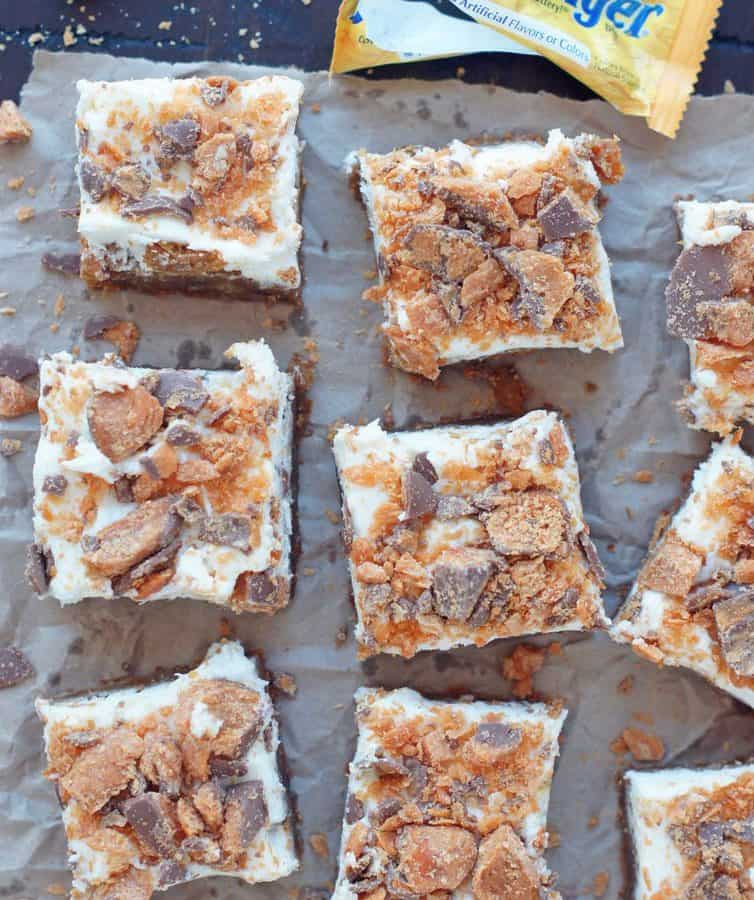These Butterfinger Blondies are an all-time favorite at our house and requested by many, many friends. They are just crazy, crazy good!