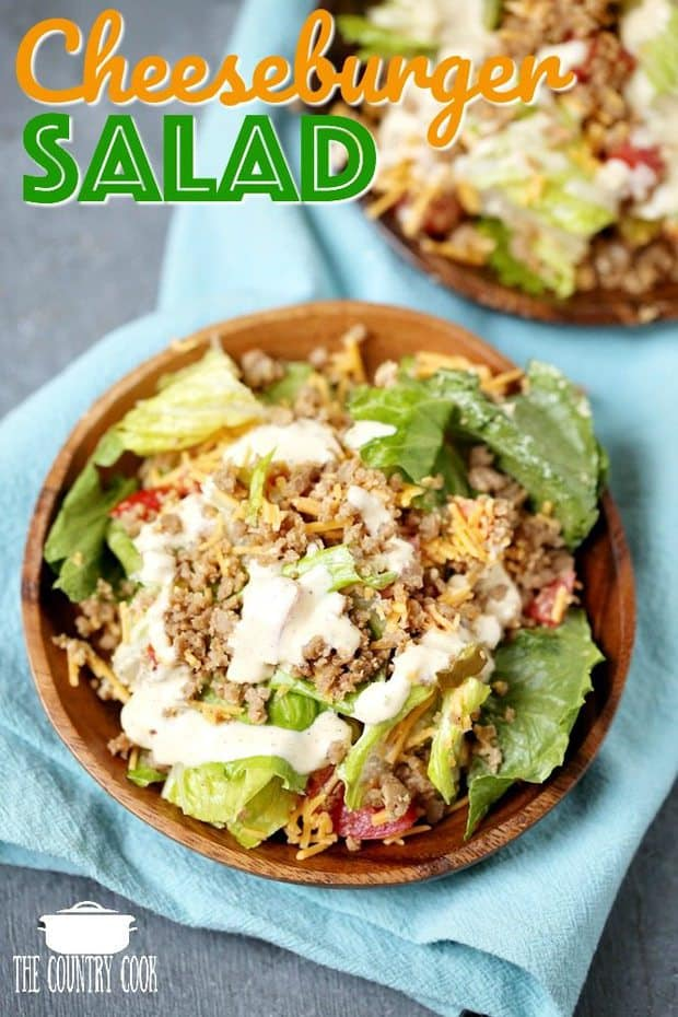 This Low Carb Cheeseburger Salad has all of the flavors of a cheeseburger in an easy to make healthier lunch salad!