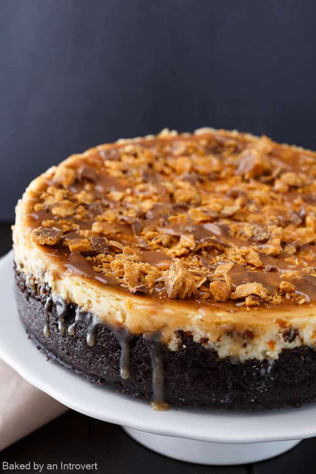 There is so much to love about Butterfinger Cheesecake with Caramel Drizzle. Butterfinger candy bars and cheesecake is an incredible combination. It's truly a match made in cheesecake heaven! Loads of chopped Butterfinger candies fill the body of the cheesecake and more is added over the top. The whole thing rests on fudge-filled sandwich cookies that have been crushed into crumbs for a rich chocolate crust. And let's not forget the drippy caramel drizzle. This