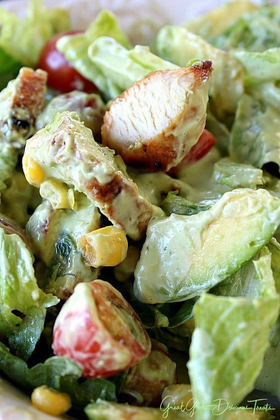This BBQ chicken avocado salad with avocado ranch dressing is super tasty and is a meal in itself.